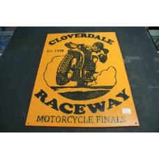 CLOVERDALE RACEWAY RETRO WOOD SIGN - ORANGE