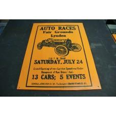 LYNDEN RACEWAY RETRO WOOD SIGN - ORANGE