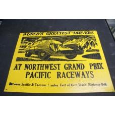 PACIFIC RACEWAYS RETRO WOOD SIGN - YELLOW