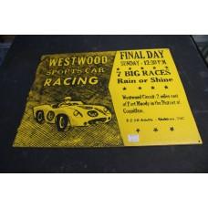 WESTWOOD RACEWAY RETRO WOOD SIGN - YELLOW