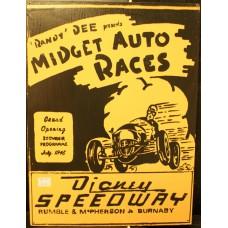 MIDGET AUTO RACES RETRO WOOD SIGN